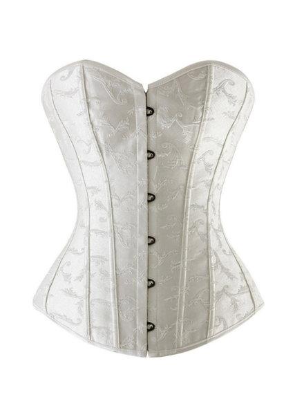 Cremekleurig corset met geborduurd motiefje