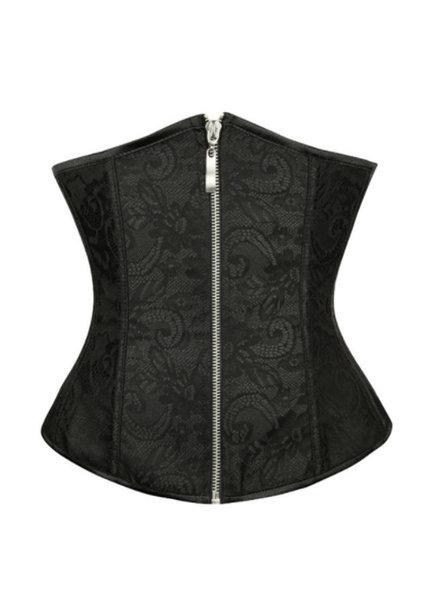 Zwart underbust corset met rits