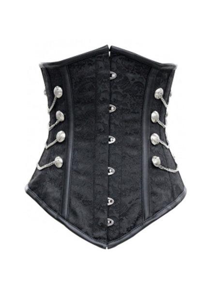 Zwart underbust corset met zilveren details