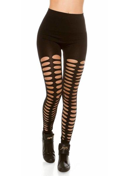 Zwarte legging met open voorkant