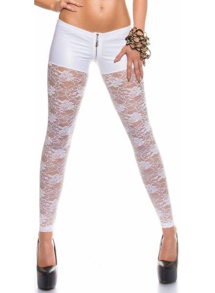 Witte legging kant/wetlook