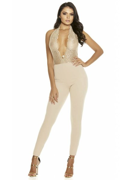 Forplay Beige halter jumpsuit