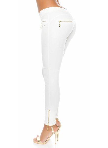 Witte leatherlook broek met ritsjes