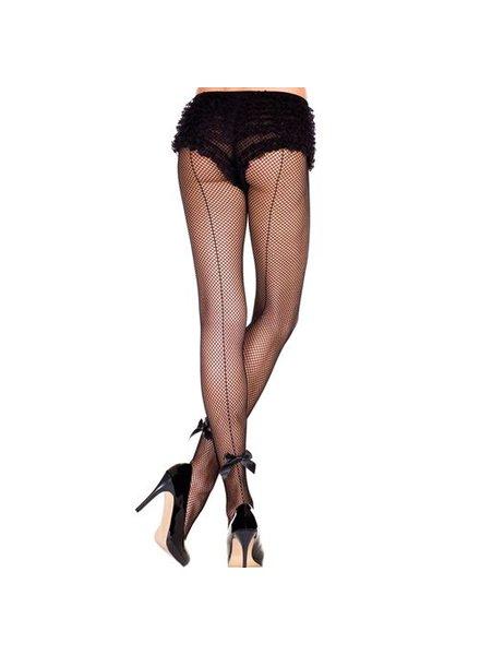 Music Legs Zwarte netpanty met naad en strikjes