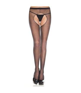 Music Legs Zwarte panty met open kruis