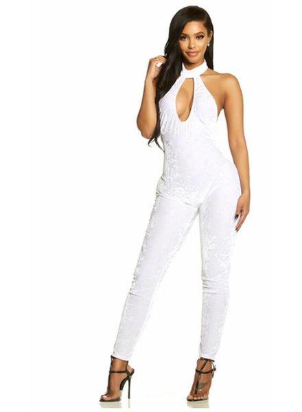 Forplay Witte halter jumpsuit (velvet)
