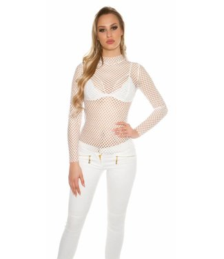Witte fishnet top