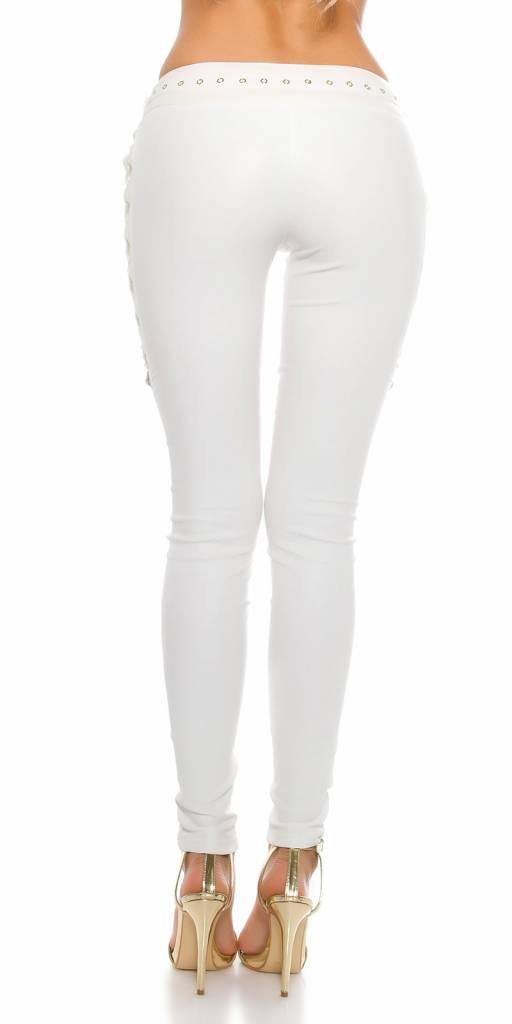 Witte broek met veter detail
