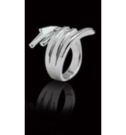 zilveren ring: plain criss cross