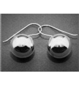zilveren oorhanger: silver ball