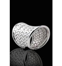 zilveren ring: plaited