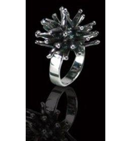 zilveren ring: dark shiny ball