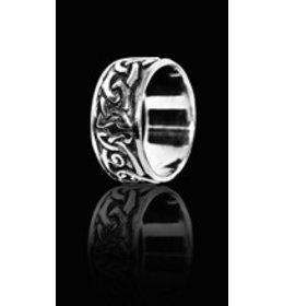 zilveren ring: celtic black & white