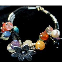 zilveren fantasiearmband: twined beads & stones