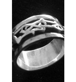 zilveren ring: spinning tribal