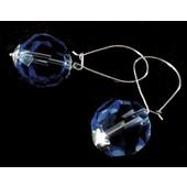 zilveren oorhanger: sparkling blue crystal