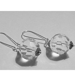 zilveren oorhanger: sparkling white crystal