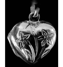 zilver medaillon: heart little flower