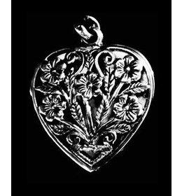 zilver medaillon: heart flower