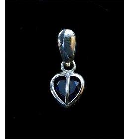 zilveren hanger: blue heart