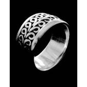 zilveren ring: wide curly