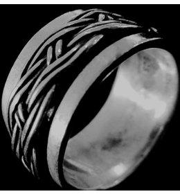 zilveren ring: spinning braided