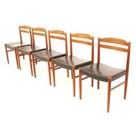 Five teak dining chairs designed by Carl Ekström for Albin Johansson & Söner, Swedish Design