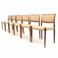 Model 80 stoelen ontworpen door Niels O. Møller voor J.L. Møller Møbelfabrik, Deens Design