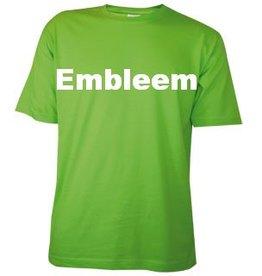 Katoenen lichtgroene T-shirts met bedrukking van een embleem