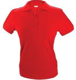 Dames Poloshirts in de kleur rood (polo pique) met korte mouw