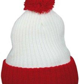 Echte POM POM mutsen voor volwassenen (kleur rood met wit)
