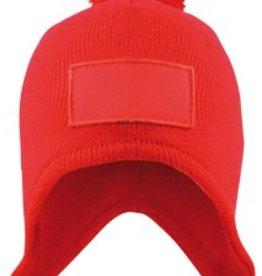 Warme gebreide rode POM POM winter mutsen (1 universele volwassen maat)