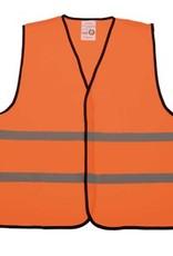 Kinder Veiligheidshesjes in de kleur fluor oranje voorzien van reflecterende strepen (uni kinder maat)