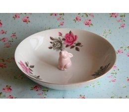 Mooie, diepe porseleinen rozenschaal