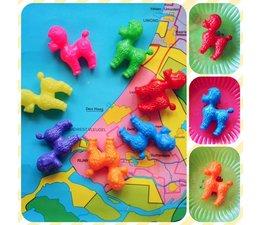 Mini retro plastic poedel, div vrolijke kleuren - Joyzone -