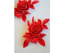 Fraaie kersthanger rode glitterroos