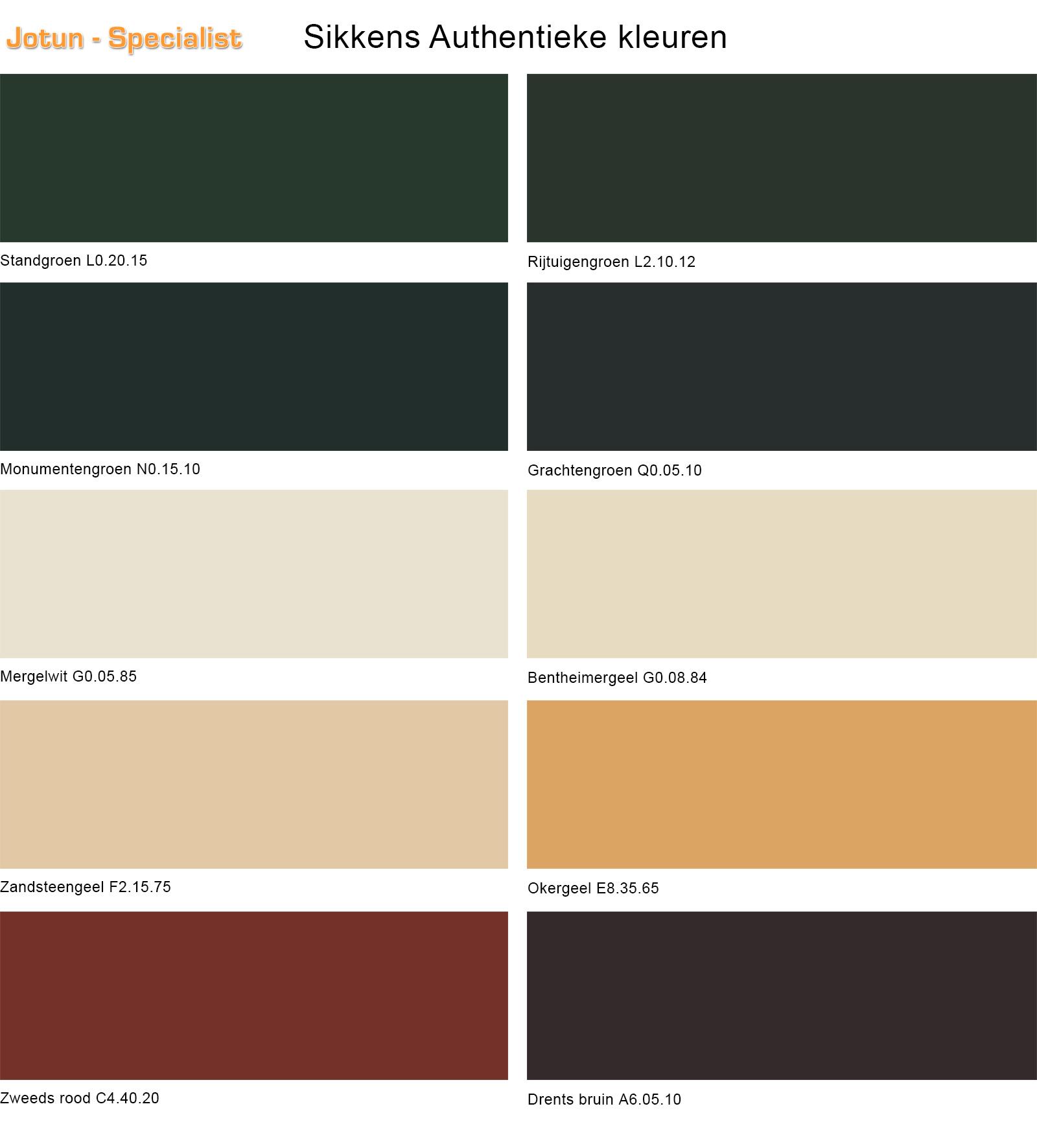 Voorkeur Sikkens Authentieke Kleuren - Oud Hollandse Kleuren WC77