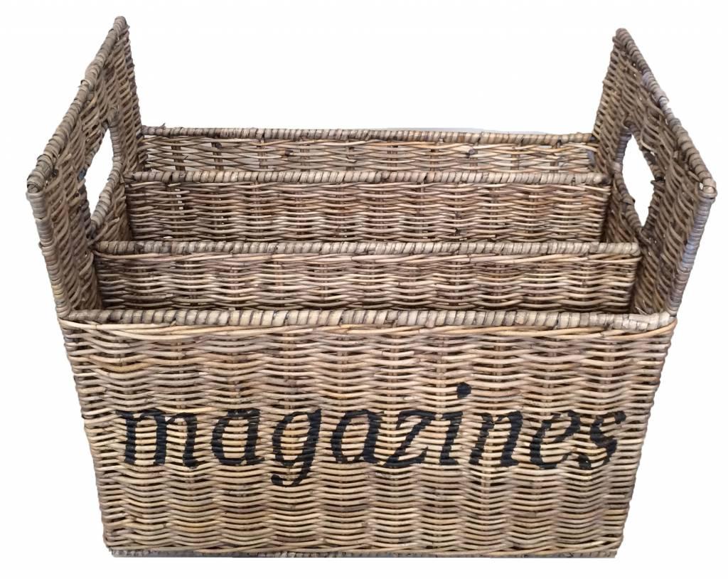 Rieten tijdschriftenhouder Magazines
