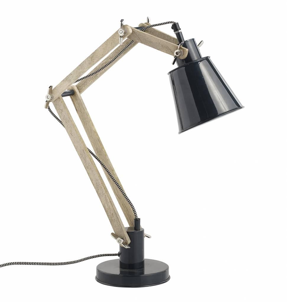 Bureaulamp Zwart/Naturek Retro - Nordal