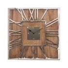 PTMD Wandklok Mangohout/Metaal vierkant - 50x5x50 cm
