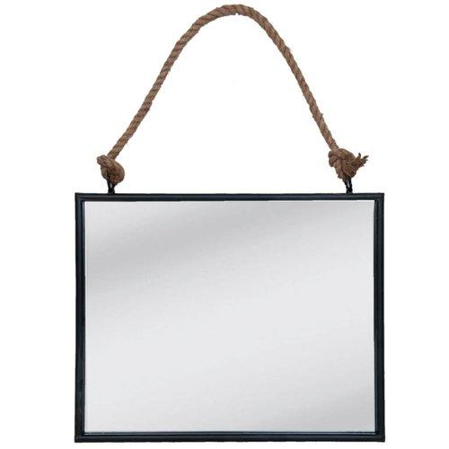 Clayre & Eef Wandspiegel zwart/ijzer - 50x4x42 cm