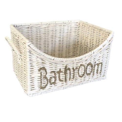 Sweet Living Witte Rieten Badkamermand Bathroom - 24x18xH15 cm