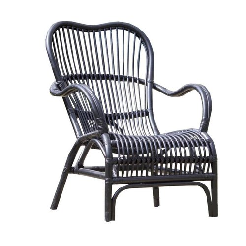 Sweet Living Zwarte Rotan Loungestoel - 67x80xH86 cm