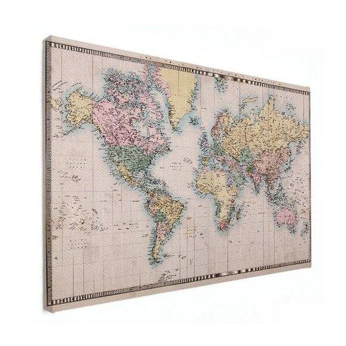 Sweet Living Canvas Wereldkaart Realistisch - 60xH40 cm
