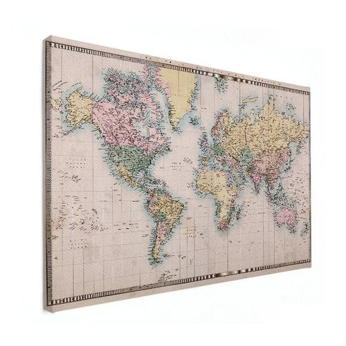 Sweet Living Canvas Wereldkaart Realistisch - 120xH90 cm