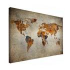 Sweet Living Canvas Wereldkaart Schilderij - 60xH40 cm