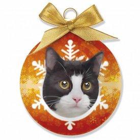 Plenty Gifts Katze Schwarz Weiß Weihnachtskugeln Set (3 Stück)