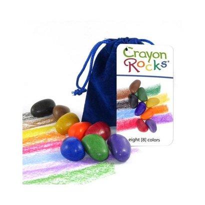 Crayon Rocks Crayon Rocks acht waskrijtjes in blauw fluwelen zakje