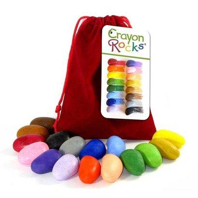 Crayon Rocks Crayon Rocks 16 ecologische krijtjes van sojawas  in rood fluwelen zakje