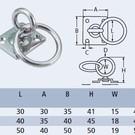 Aanlegring RVS met draaibaar oog met ring